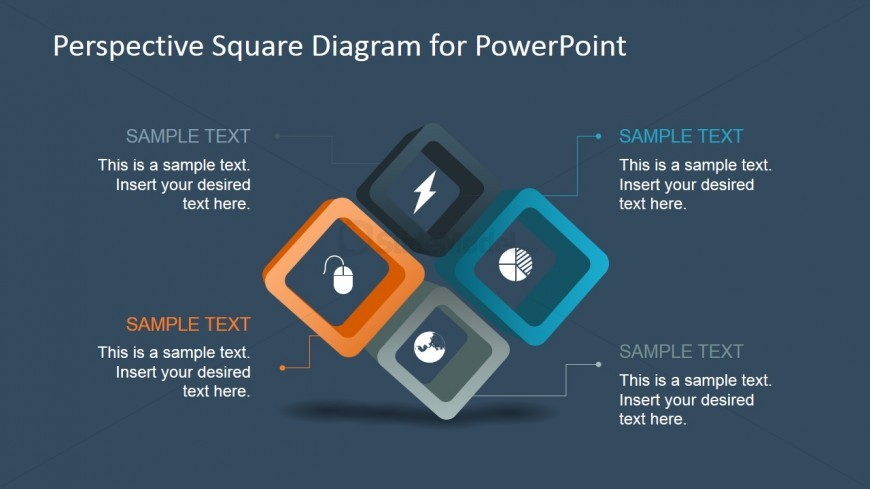 4 Steps Square Diagram Design for PowerPoint