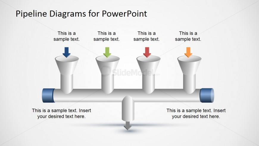 4 Input to 1    Output    Pipeline    Diagram    for PowerPoint  SlideModel