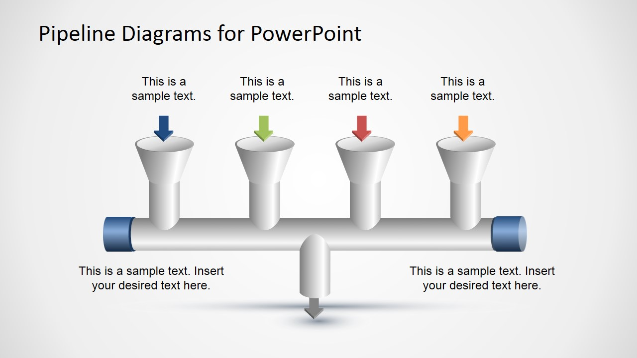 4 Input to 1 Output Pipeline Diagram for PowerPoint