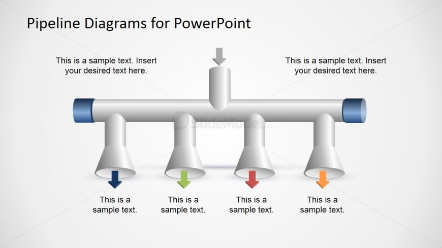 1 Input to 4 Output Horizontal Pipeline Diagram for PowerPoint
