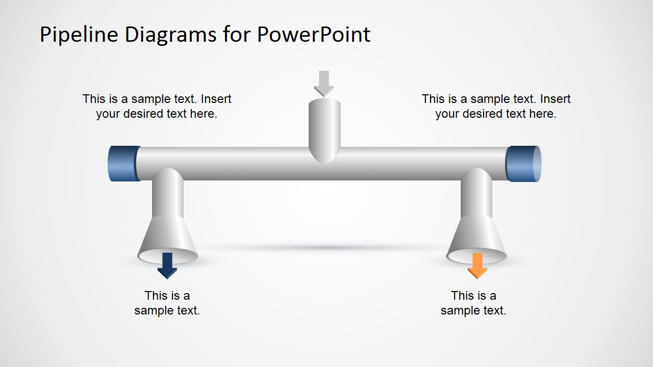 1 Input to 2 Output Horizontal Pipeline Diagram for PowerPoint