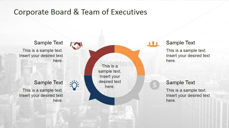 PowerPoint Diagram Showing the Breakdown of Corporate Executive Roles