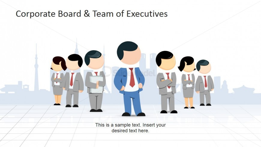 Board of Executives in front of a Generic Skyline Clip Art