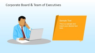 Male Executive with Phone and Laptop PowerPoint Scene