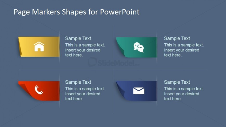 PowerPoint Icons in Paper Markers Shapes