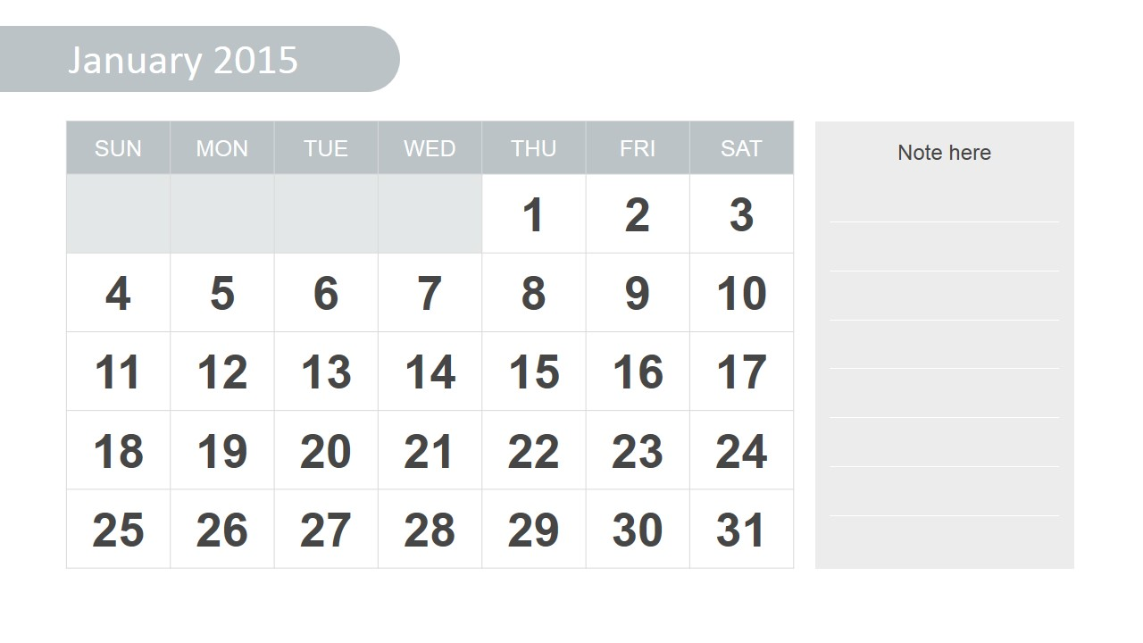 Calendar January 2015 Slide Design