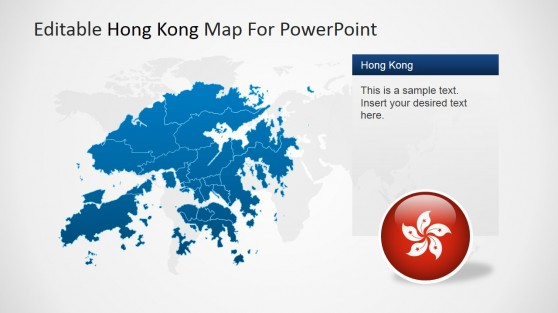 Hong Kong Blue Colored Outline Map with Flag Badge