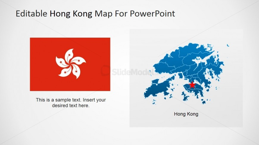 Hong Kong Flag and Map with Star Icon over PowerPoint Map