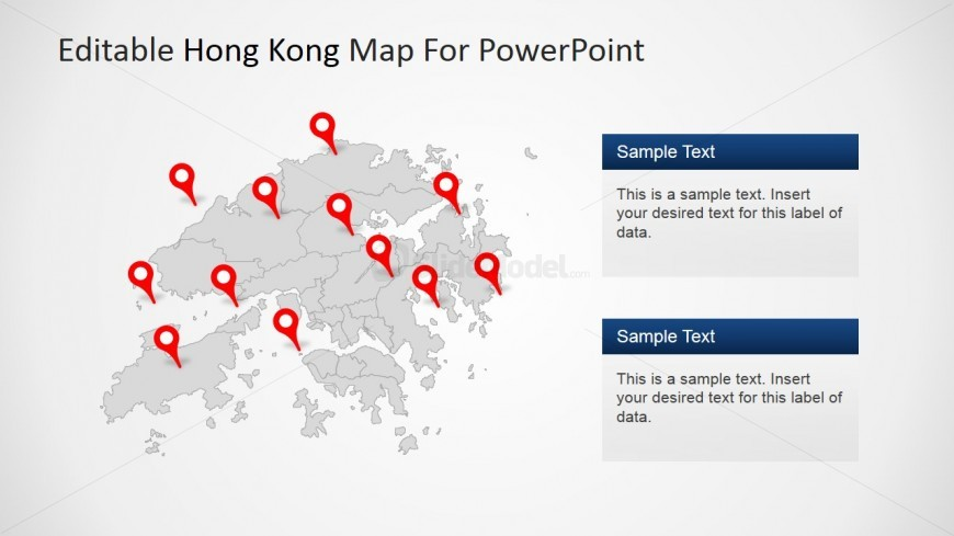 PowerPoint Hong Kong Map with 12 GPS Markers