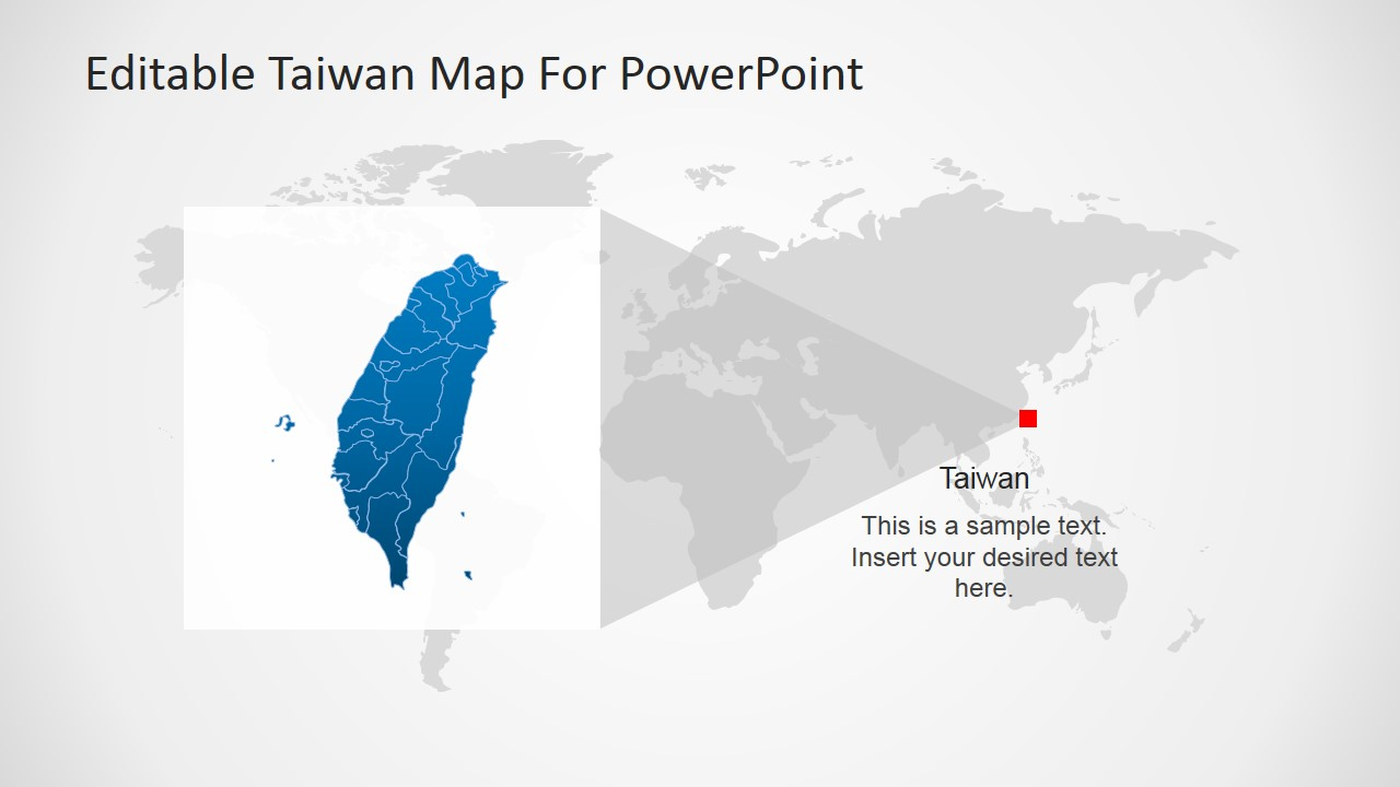 Taiwan editable powerpoint map slidemodel taiwans position on the world map gumiabroncs Images