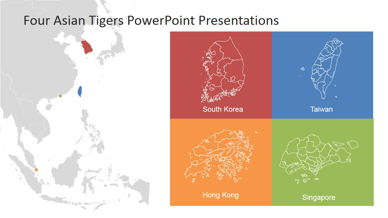 Map Of Asia Template.Four Asian Tigers Powerpoint Template