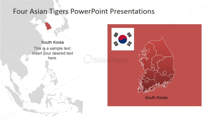 PowerPoint Map of South Korea with Southeast Background