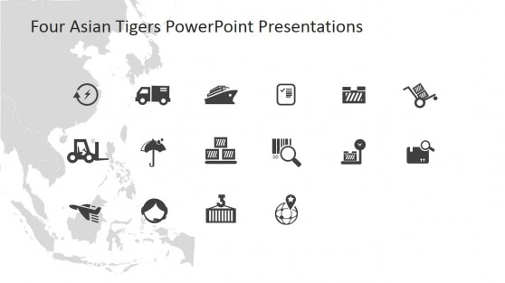 Flat Icons of Market and Trading of Four Asian Tigers