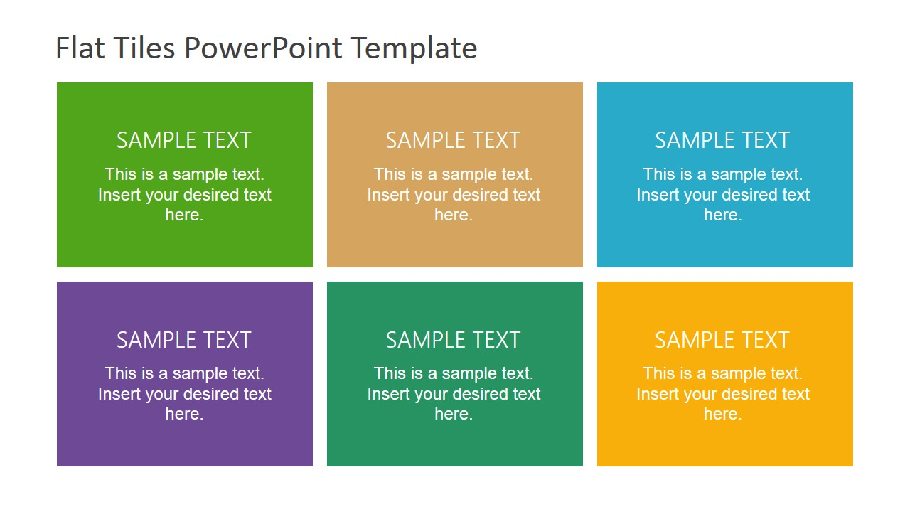 Six Multi-Coloured Tiles for PowerPoint