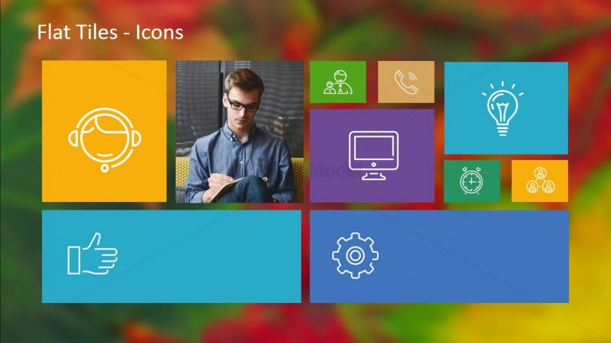 Flat Design - Tiles with Multiple Icons