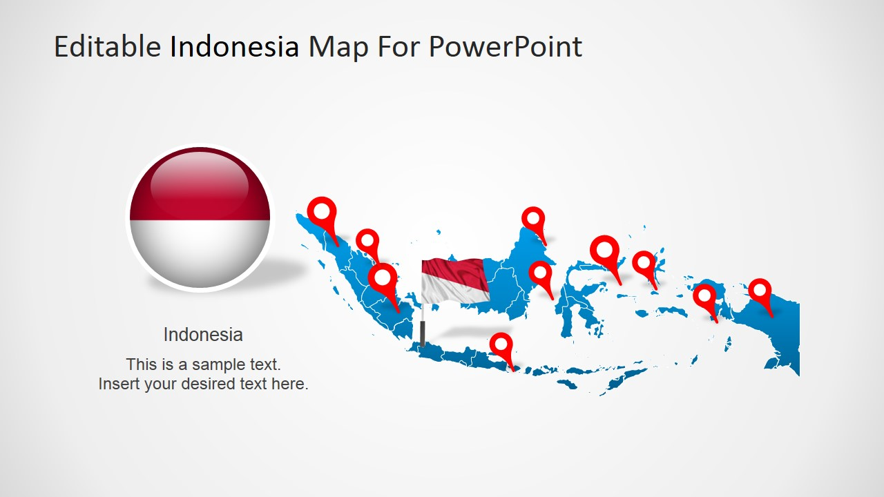 indonesia map with flag clipart