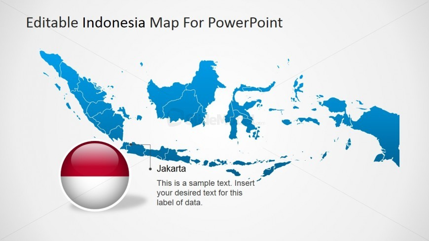 PowerPoint Map of Indonesia with Jakarta Text