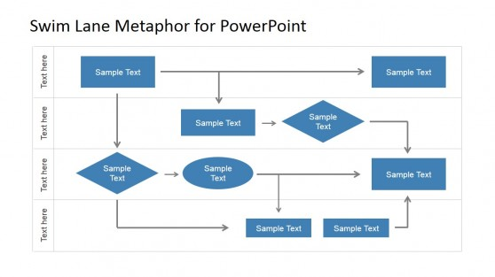 Flat Swim Lane PowerPoint Diagram
