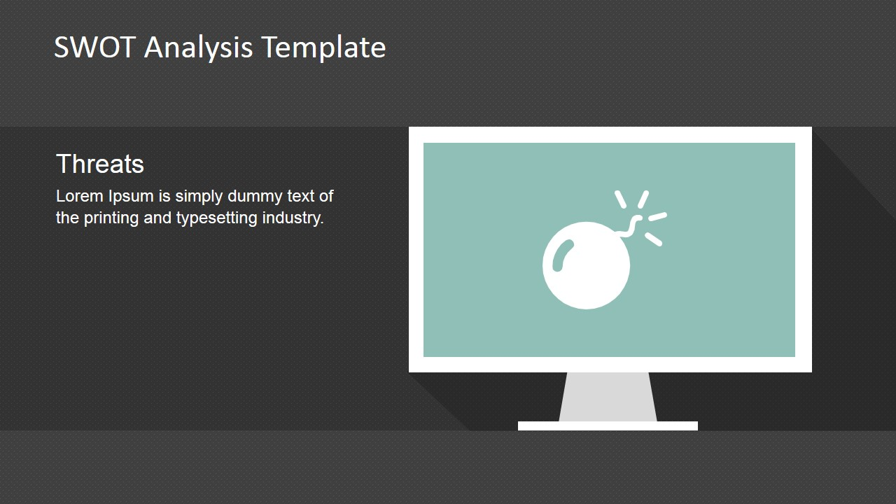 threat model template - minimalist swot analysis template for powerpoint slidemodel