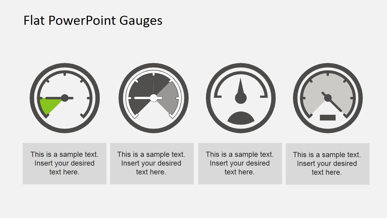flat dashboard gauges for powerpoint - slidemodel, Powerpoint templates