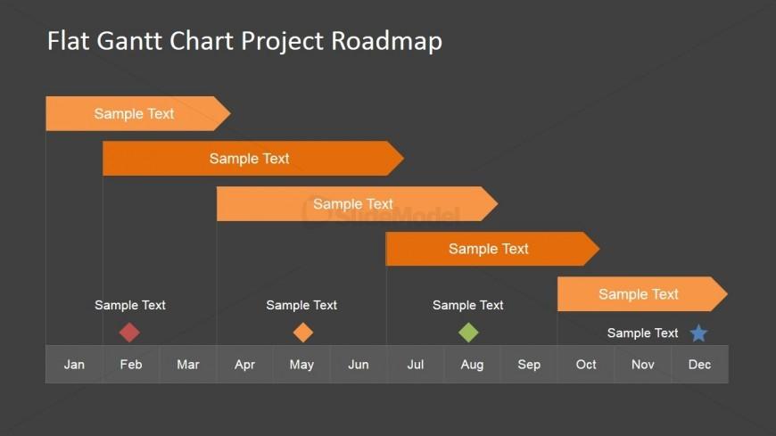 flat roadmap gantt chart with milestones - slidemodel, Powerpoint templates