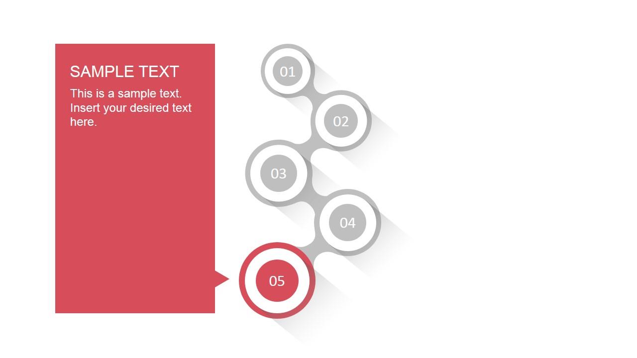 5 step zig zag timeline template for powerpoint slidemodel