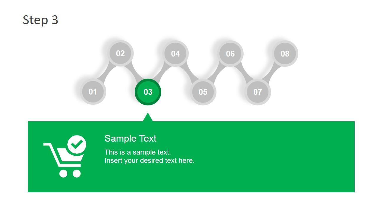 8 steps zig zag diagram template for powerpoint slidemodel