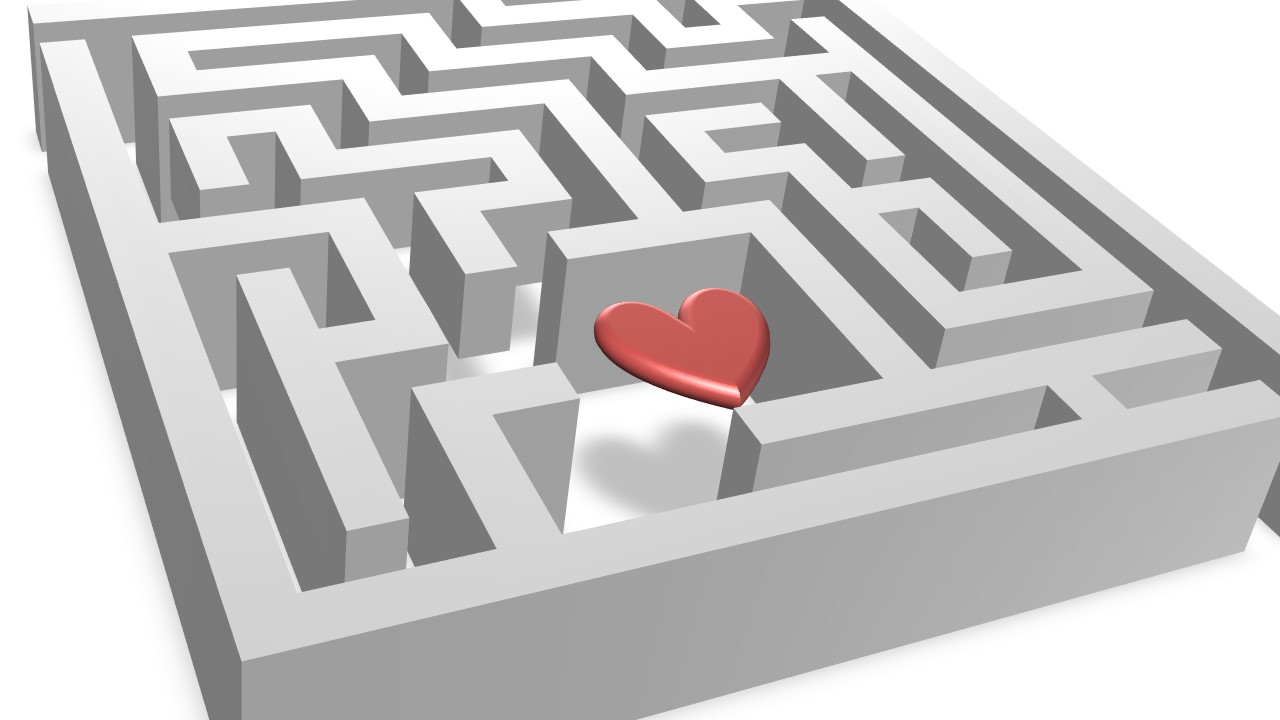 Perspective View of 3D Maze with 3D Heart Inside