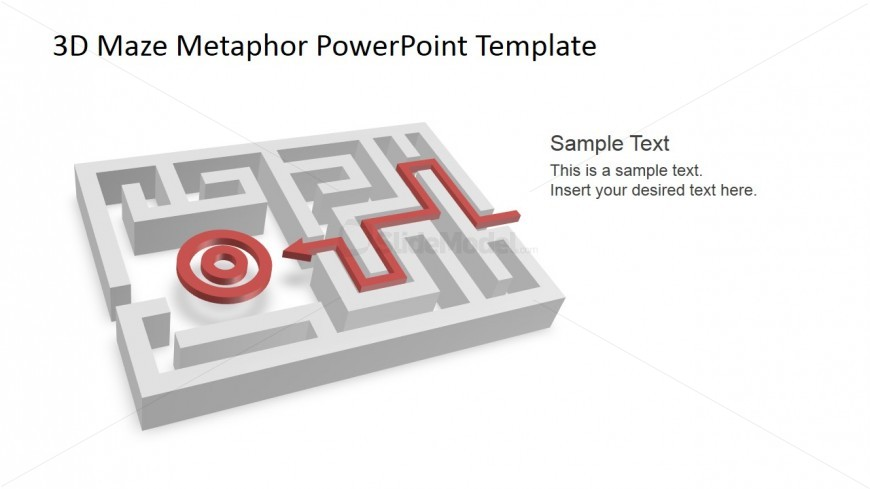 PowerPoint 3D Maze Shape with 3D Target and Path