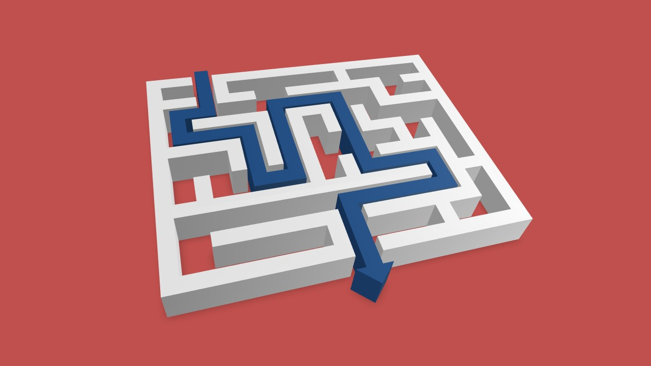 Blue Path Arrow Exiting Maze Successfully for PowerPoint