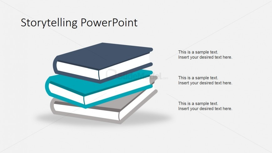 PowerPoint Books Shapes in 3D Material Flat Design