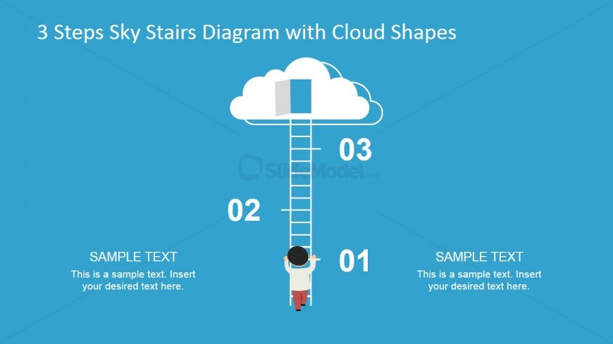 Cloud shapes for PowerPoint presentations with Stairs