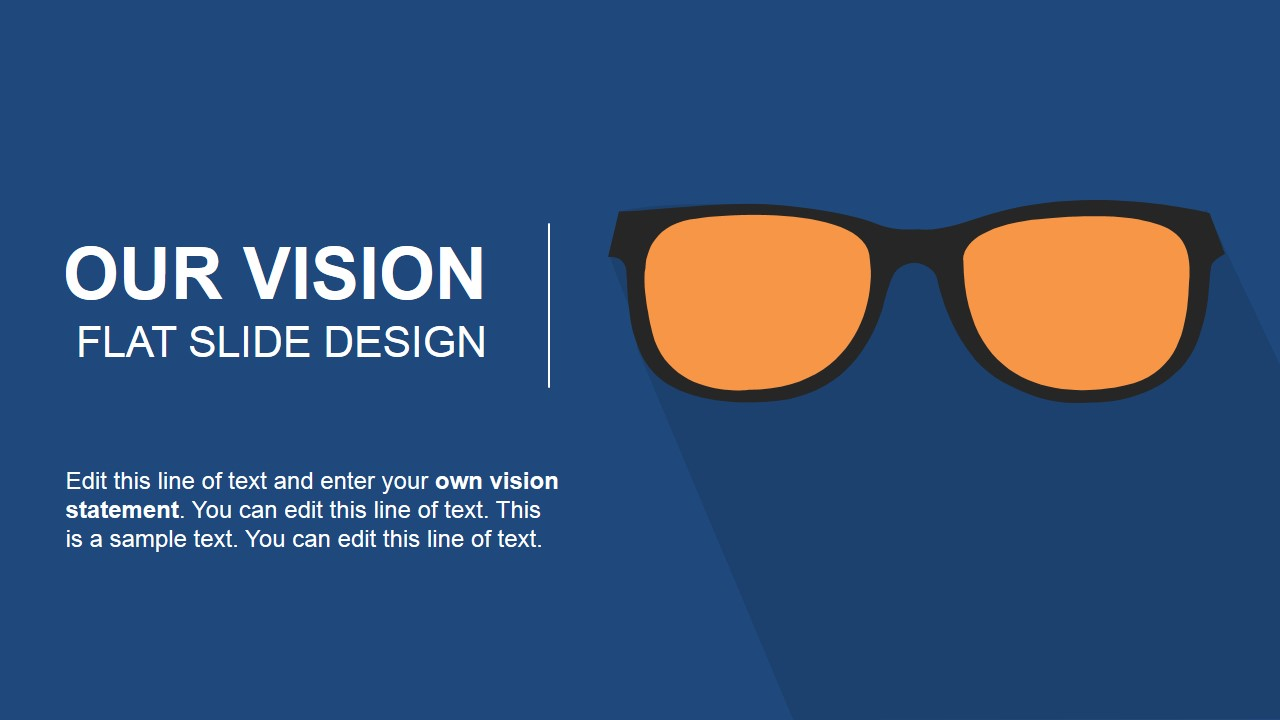 Our Vision Flat Slide Design For Powerpoint