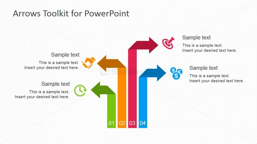 Multiple Colorful Arrows Design for PowerPoint