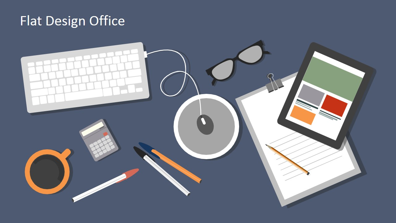 Flat design office powerpoint templates slidemodel for Decorate my flat