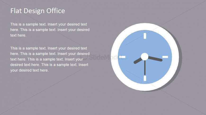 Flat Analog Clock Shape for PowerPoint