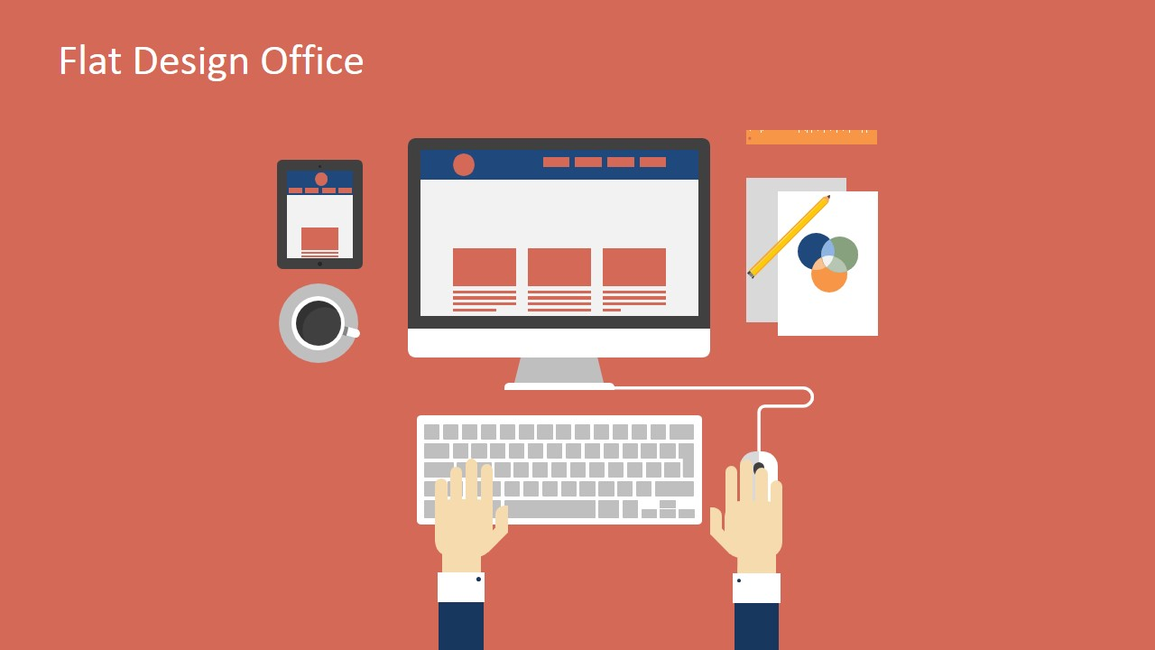 Flat design office powerpoint templates slidemodel flat design office powerpoint templates computer desk illustration for powerpoint toneelgroepblik Image collections