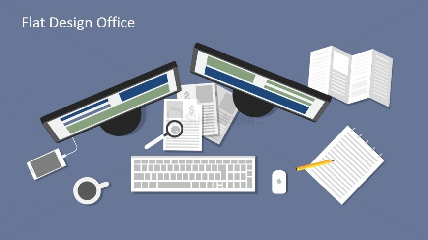 Workspace Desk Illustration for PowerPoint