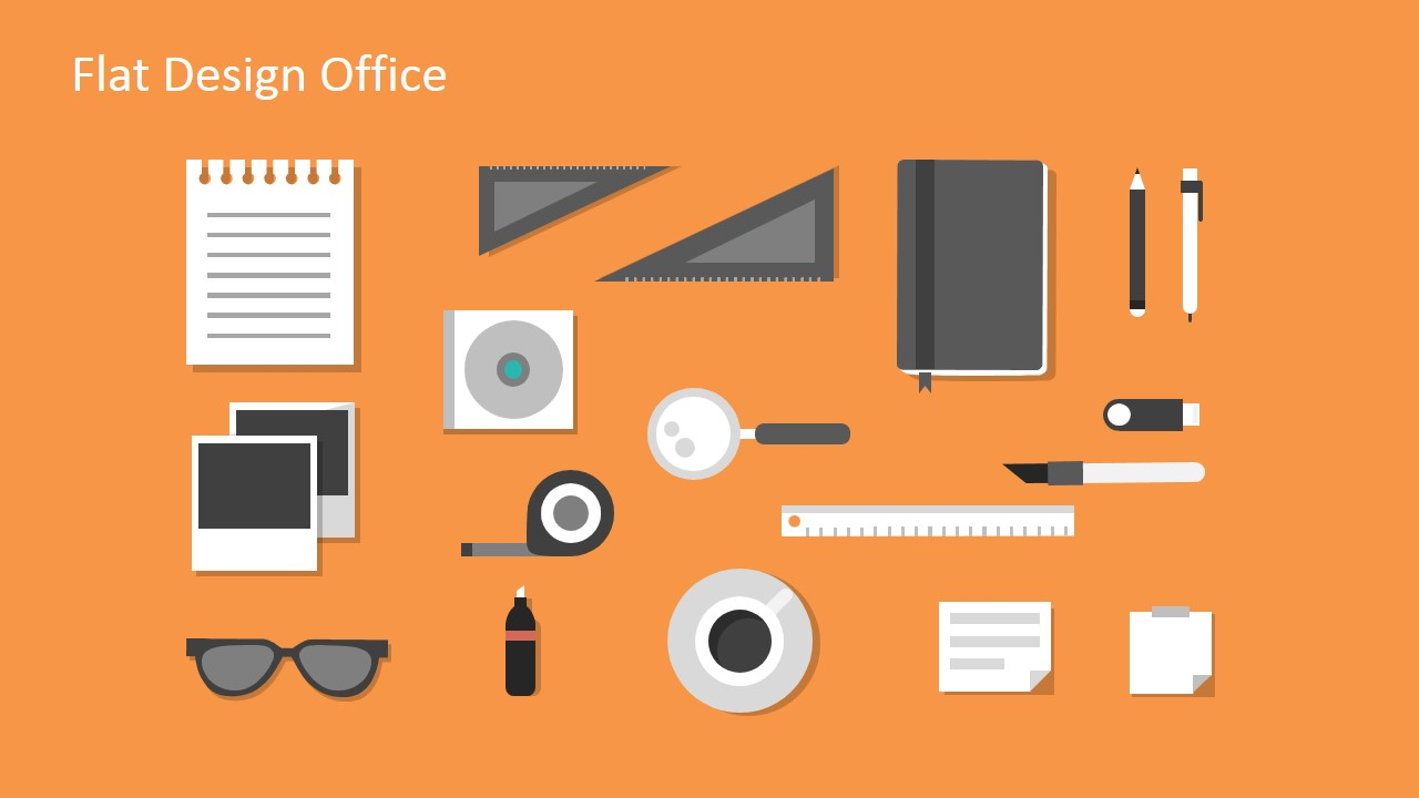 Flat design office powerpoint templates slidemodel template for powerpoint flat office kit vectors for powerpoint alramifo Image collections