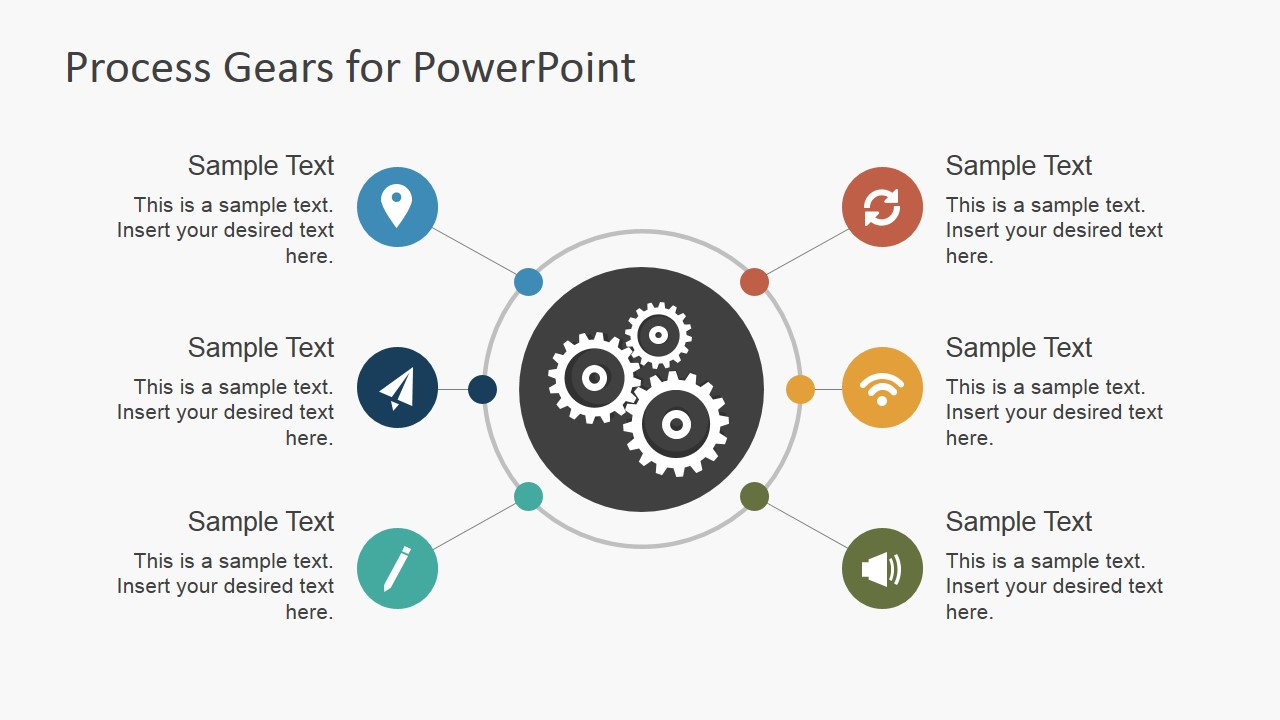 Circular Process Gear Shapes Diagram with Icons for PowerPoint