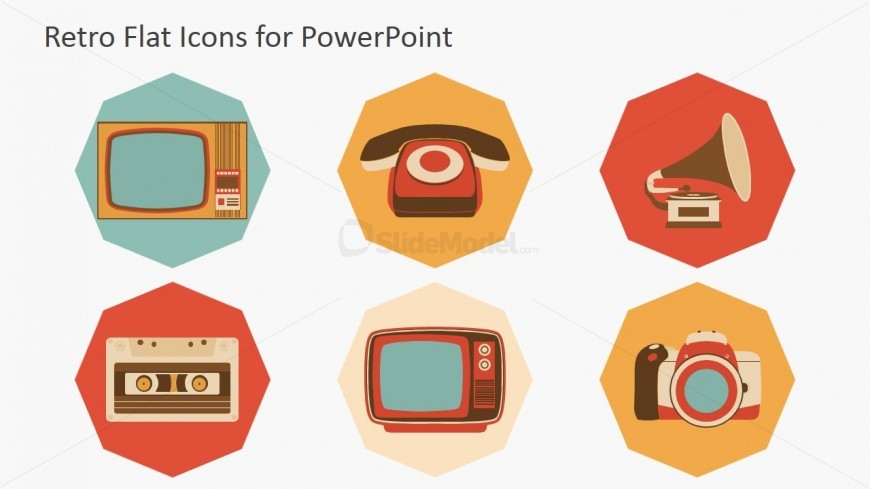 Sixties Vintage Technology Icons for PowerPoint