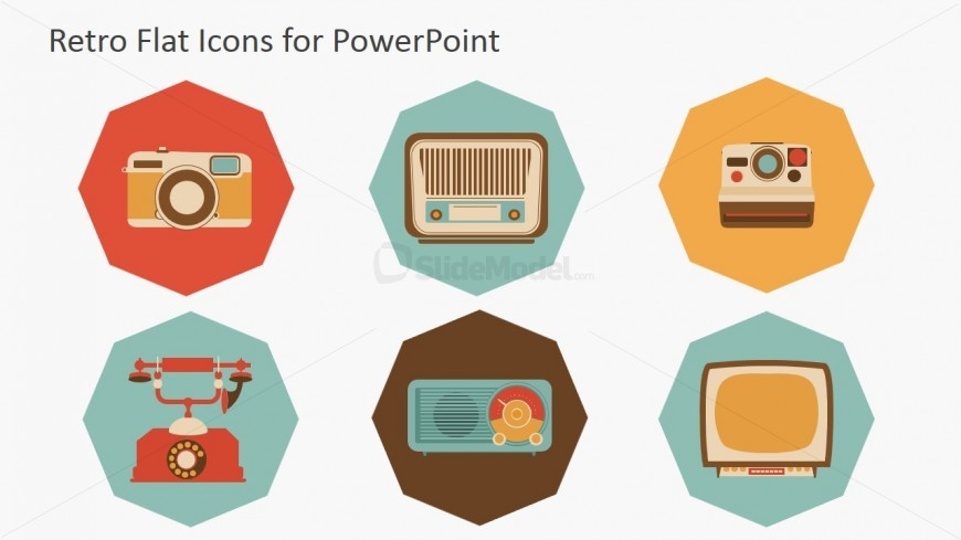 Vintage Tech Devices Icons for PowePoint