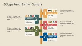 5 Steps PowerPoint Pencil Infographics