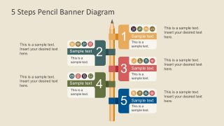 5 Steps Pencil Banner PowerPoint Infographics