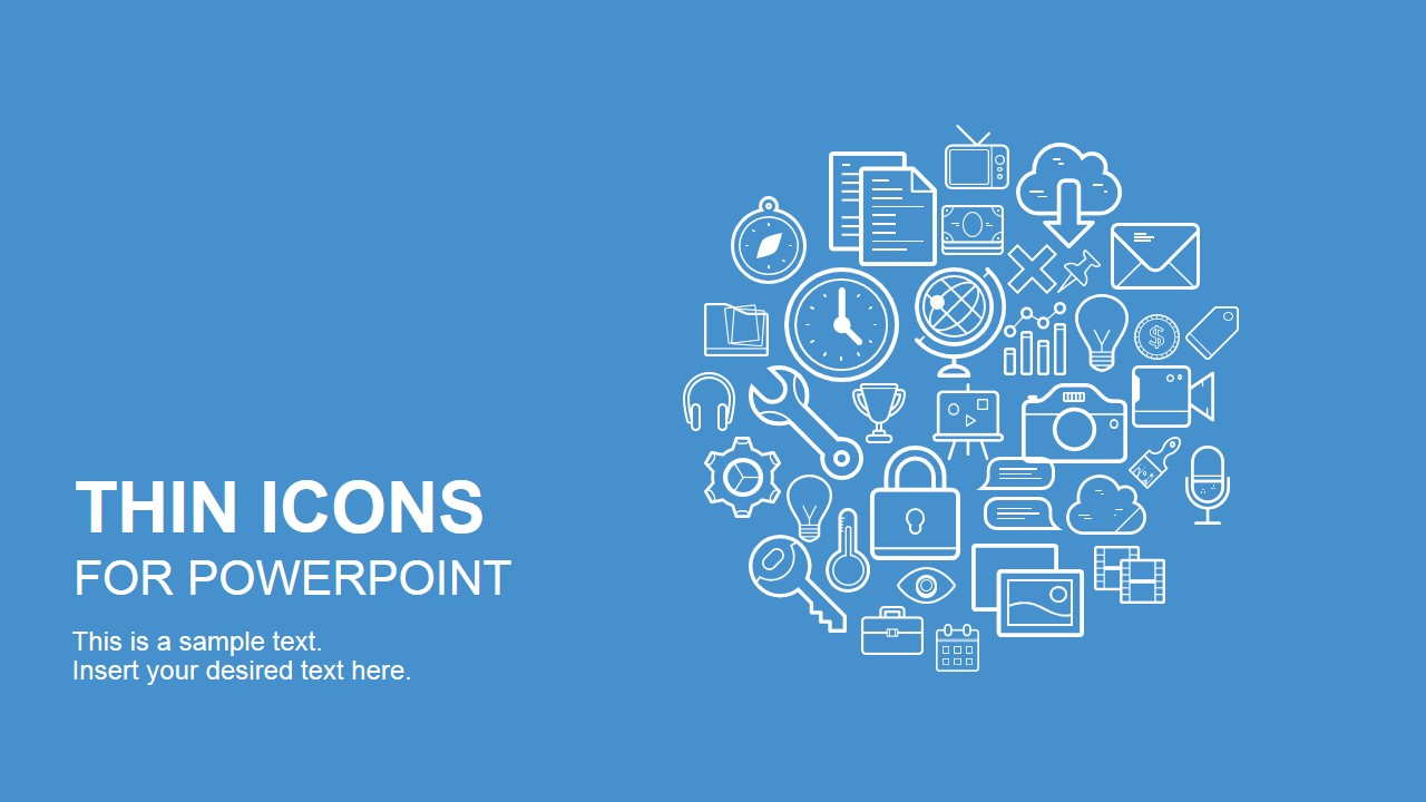 thin icons for powerpoint slidemodel