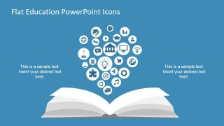 Flat PowerPoint Education Icons in Open Book Scene