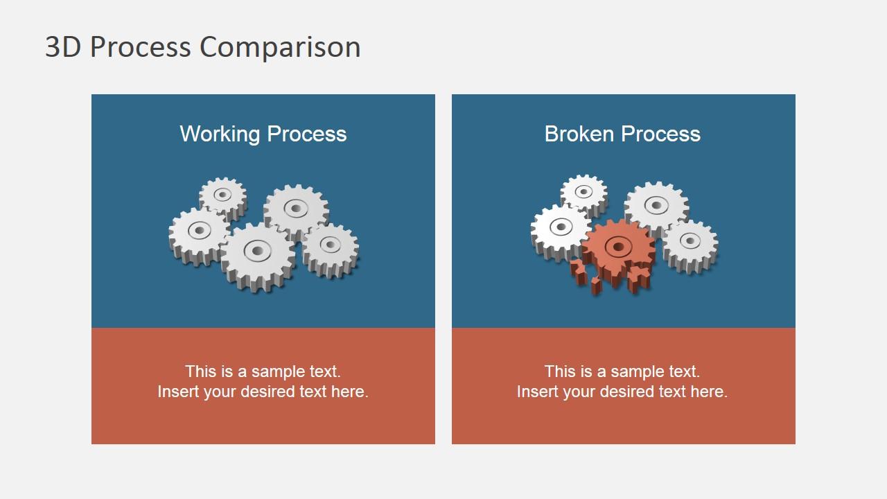 3d broken process powerpoint template