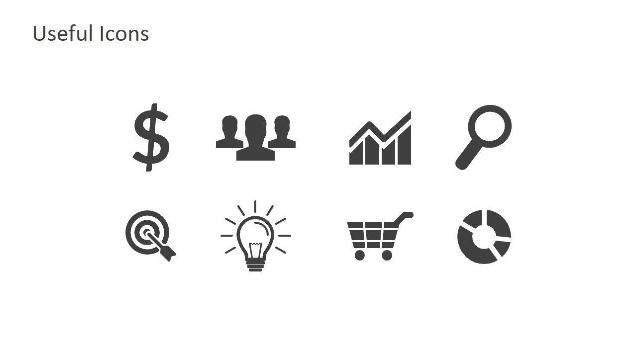 Grayscale Business Icons for PowerPoint