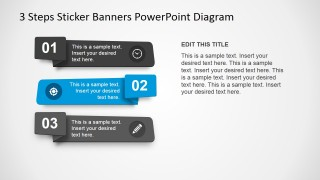 PowerPoint 3 Steps Horizontal Banners Flat Design