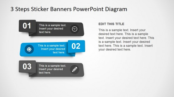Flat Sticker Material Design Banner 3 Steps for PowerPoint
